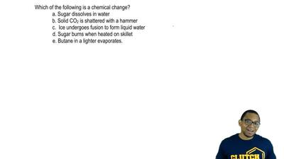 Which of the following is a chemical change?  a. Sugar dissolves in water  b. ...