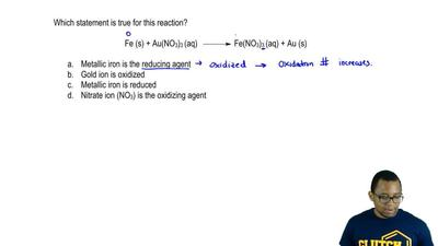 Which statement is true for this reaction?  Fe (s) + Au(NO3)3 (aq) →Fe(NO3)3...