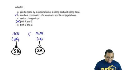 A buffer:  a. can be made by a combination of a strong acid and strong base.  ...