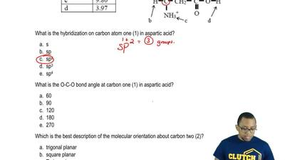 Consider the Lewis Structure for aspartic acid (an amino acid found in protein...