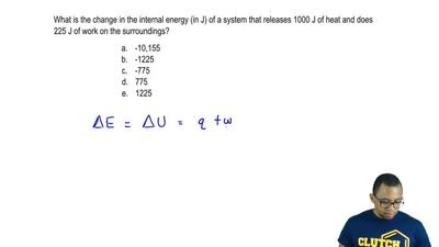 What is the change in the internal energy (in J) of a system that releases 100...