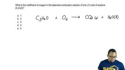 What is the coefficient of oxygen in the balanced combustion reaction of one (...