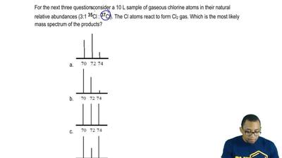 For the next three questions consider a 10 L sample of gaseous chlorine atoms ...