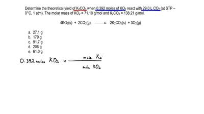 Determine the theoretical yield of K 2CO3 when 0.392 moles of KO 2 react with ...