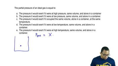 The partial pressure of an ideal gas is equal to:  a. The pressure it would ex...