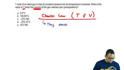 1 mole of an ideal gas is kept at constant pressure but its temperature is low...