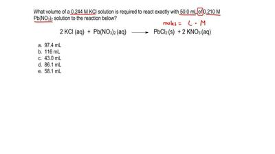 What volume of a 0.244 M KCl solution is required to react exactly with 50.0 m...