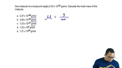 One molecule of a compound weighs 2.03 x 10-22 grams. Calculate the molar mas...