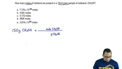 How many moles of methanol are present in a 150.0 gram sample of methanol, CH3...