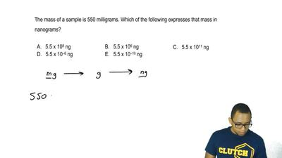 The mass of a sample is 550 milligrams. Which of the following expresses that ...