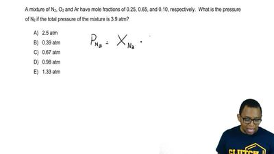 A mixture of N2, O2 and Ar have mole fractions of 0.25, 0.65, and 0.10, respe...