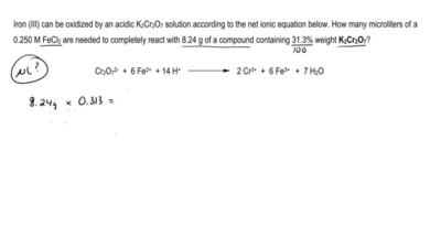 Iron (III) can be oxidized by an acidic K2Cr2O7 solution according to the net ...