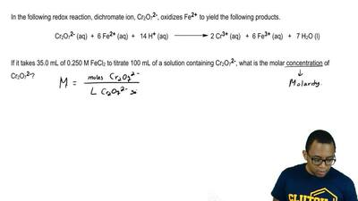 In the following redox reaction, dichromate ion, Cr 2O7 2- , oxidizes Fe2+ to ...