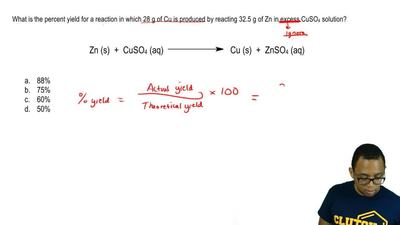 What is the percent yield for a reaction in which 28 g of Cu is produced by re...