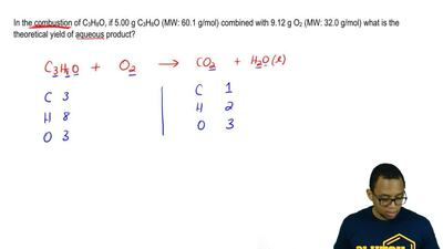 In the combustion of C3H8O, if 5.00 g C3H8O (MW: 60.1 g/mol) combined with 9.1...