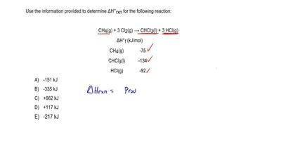 Use the information provided to determine ΔH°rxn for the following reaction:  ...