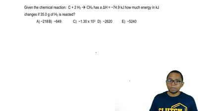 Given the chemical reaction: C + 2 H 2 → CH4 has a ΔH = −74.9 kJ how much ener...