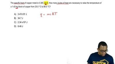 The specific heat of copper metal is 0.385 J/g K. How many joules of heat are ...