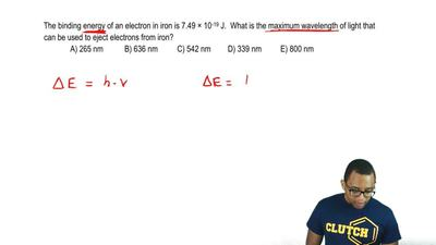 The binding energy of an electron in iron is 7.49 × 10–19 J. What is the maxi...