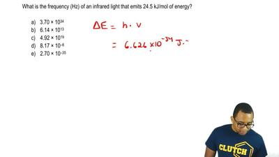 What is the frequency (Hz) of an infrared light that emits 24.5 kJ/mol of ener...