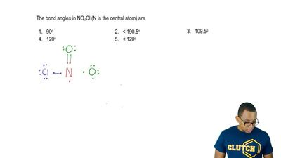The bond angles in NO2Cl (N is the central atom) are  1. 90°  2. < 190.5°  ...