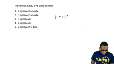 The molecule HCN (C is the central atom) has  1. 2 sigma and 2 pi bonds.  2. 1...
