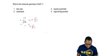 What is the molecular geometry of SeF5 - ?  1. see-saw  2. square pyramidal  3...