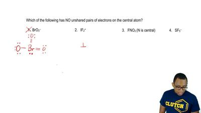 Which of the following has NO unshared pairs of electrons on the central atom?...