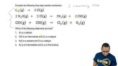 Consider the following three step reaction mechanism  Cl2 (g) →  2 Cl (g)  2 N...