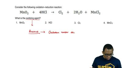 Consider the following oxidation-reduction reaction:  MnO2 +  4 HCl →  C...