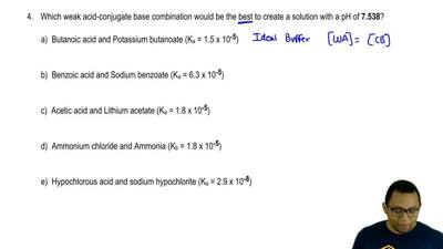 Which weak acid-conjugate base combination would be the best to create a solut...