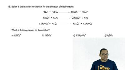 Below is the reaction mechanism for the formation of nitrobenzene:  HNO3 + H2S...
