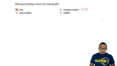 What type of bonding is found in the molecule HCl?  1. ionic  2. nonpolar cova...
