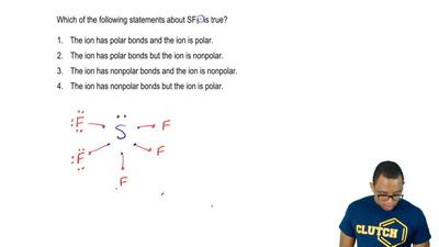 Which of the following statements about SF5 – is true?  1. The ion has polar b...
