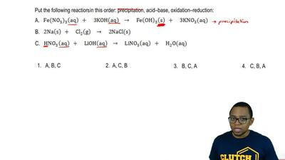 Put the following reactions in this order: precipitation, acid-base, oxidation...