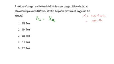 A mixture of oxygen and helium is 92.3% by mass oxygen. It is collected at atm...