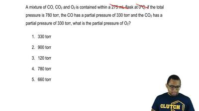 A mixture of CO, CO2 and O2 is contained within a 275 mL flask at 0°C. if the ...