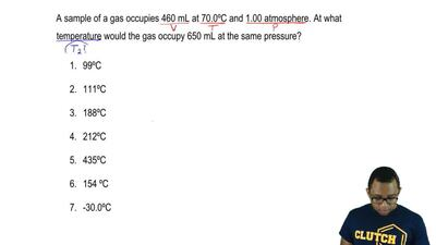 A sample of a gas occupies 460 mL at 70.0ºC and 1.00 atmosphere. At what tempe...