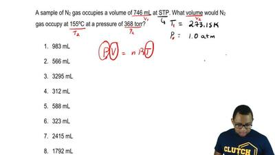A sample of N2 gas occupies a volume of 746 mL at STP. What volume would N 2 g...