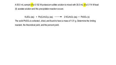 A 55.0 mL sample of a 0.102 M potassium sulfate solution is mixed with 35.0 mL...