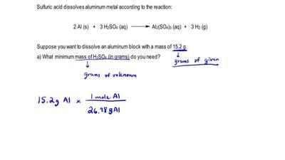 Sulfuric acid dissolves aluminum metal according to the reaction:  2 Al (s) + ...