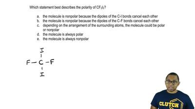 Which statement best describes the polarity of CF 2l2?  a. the molecule is non...