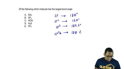 Of the following, which molecule has the largest bond angle?  A. SO3  B. SF2  ...
