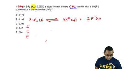 If 147 g of ZnF2 (Ksp = 0.0300) is added to water to make a 1.00 L solution, w...