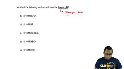 Which of the following solutions will have the lowest pH?  a) 0.10 M H3PO3  b)...
