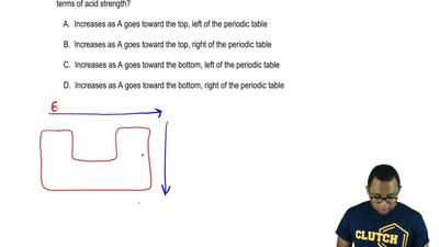 When comparing acids with a formula HA, where A can be any one element, what i...