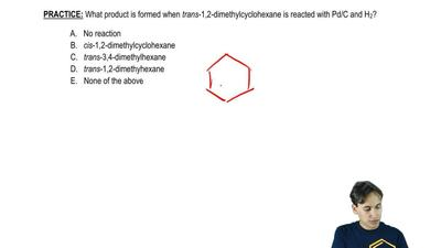 What product is formed when trans-1,2-dimethylcyclohexane is reacted with Pd/C...
