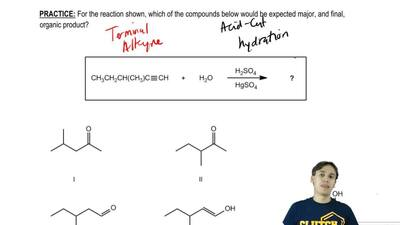 For the reaction shown, which of the compounds below would be expected major, ...