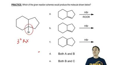 Which of the given reaction schemes would produce the molecule shown below?   ...