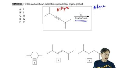 For the reaction shown, select the expected major organic product. ...